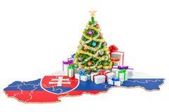 Christmas and New Year holidays in Slovakia concept. 3D renderin Royalty Free Stock Images