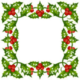 Christmas and New Year holly frame. Vector Christmas and New Year holly frame Royalty Free Stock Photography