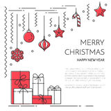 Christmas New Year horizontal banner with champagne, decorations Lline art. Christmas, New Year horizontal banner with champagne,gifts,decorations. Flat line art Stock Image