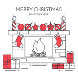 Christmas New Year horizontal banner with fireplace, gifts Line art. Christmas and New Year horizontal banner with fireplace,gifts, decorations. Flat line art Royalty Free Stock Image