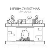 Christmas New Year horizontal banner with fireplace, gifts Lline art. Christmas and New Year horizontal banner with fireplace,gifts, decorations. Flat line art Stock Images