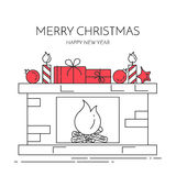 Christmas New Year horizontal banner with fireplace, gifts Lline art. Christmas and New Year horizontal banner with fireplace,gifts, decorations. Flat line art Royalty Free Stock Photo