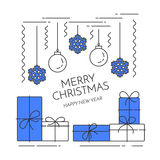 Christmas New Year horizontal banner with gifts, decorations Lline art Stock Images