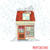 Christmas and New Year house Stock Images