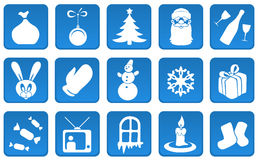 Christmas and New Year icon set. Christmas and New Year blue icon set Royalty Free Stock Photo
