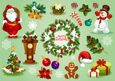 Christmas and New Year icon set for festive design. Christmas and New Year icon set with gift box, Santa Claus, xmas tree and holly berry, snowman and snowflake Royalty Free Stock Photos