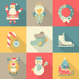 Christmas New Year icon set flat style cartoon funny Santa angel. Wreath candy skates sledge elk snowman felt boots. Collection of holiday icons web element Royalty Free Stock Photos