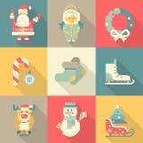 Christmas New Year icon set flat style cartoon funny Santa angel. Wreath candy skates sledge elk snowman felt boots. Collection of holiday icons web element Stock Illustration