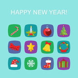 Christmas New Year icon set flat style Stock Photos