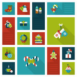 Christmas New Year icon set flat style. Creative winter holidays objects ans items: wreath, hanging sock, gloves, cake, gingerbread man. Christmas and New Year Royalty Free Stock Photos