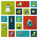 Christmas New Year icon set flat style. Flat Christmas and New Year icons. Santa, elf, deer, angel, fireplace, chimney, masquerade, coo coo clock. Holiday web Royalty Free Stock Photography