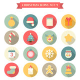 Christmas New Year icon set flat style objects Santa hat elk etc Stock Photo