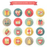 Christmas New Year icon set flat style shopping bag gift box. Christmas New Year icon set flat style shopping bags gift present boxes ribbon bow different shapes Royalty Free Stock Photo