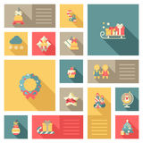 Christmas New Year icon set flat style sweets Stock Image