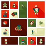 Christmas New Year icon set flat style sweets. Christmas New Year icon set flat style decorations. Angel snowman gingerbread man bear gift box candles sweet Royalty Free Stock Photo