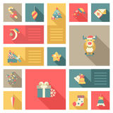 Christmas New Year icon set flat style sweets. Christmas New Year icon set flat style decorations. Deer reindeer moon candy gift present bell card mail Stock Illustration