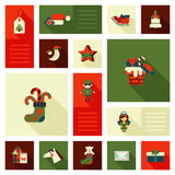 Christmas New Year icon set flat style sweets. Christmas New Year icon set flat style decorations. Elf horse head mask chimney flue funnel label tree star angel Royalty Free Stock Image