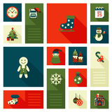 Christmas New Year icon set flat style sweets. Christmas New Year icon set flat style decorations. Skates gingerbread man snowman calendar bag presents gifts Royalty Free Stock Images
