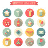 Christmas New Year icon set flat style sweets drinks decorations. Christmas New Year icon set flat style sweets drinks decoration cake martini lemonade beer Vector Illustration