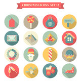 Christmas New Year icon set flat style. Wreath label candy bag mail horse santa champagne gloves sledge elf. Collection of seasonal greeting holiday icons web Stock Photography