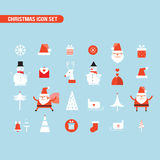 Christmas and New Year icon set Holiday Santa Claus Snowman Royalty Free Stock Images