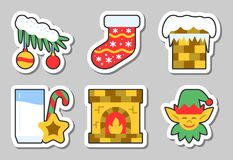 Christmas, New Year icon sticker set isolated. Vector illustration flat style color patch element collection for badge, web, banner, print, tag, label, poster Royalty Free Stock Images