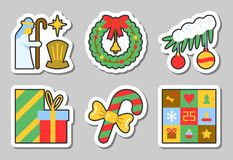 Christmas, New Year icon sticker set isolated. Vector illustration flat style color patch element collection for badge, web, banner, print, tag, label, poster Stock Photo