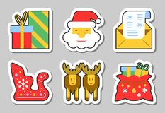 Christmas, New Year icon sticker set isolated. Vector illustration flat style color patch element collection for badge, web, banner, print, tag, label, poster Royalty Free Stock Photo