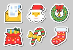 Christmas, New Year icon sticker set isolated. Vector illustration flat style color patch element collection for badge, web, banner, print, tag, label, poster Stock Image