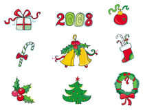 Christmas and new year icons. Christmas icon set - present , 2008, decoration, candy, bells, stock, tree... Vector illustration Royalty Free Stock Photos