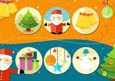 Christmas and New Year icons. Bell gloves balls tree and snowman on background in cartoon design style Stock Photo