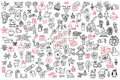 Christmas,new year icons big set.Doodle sketchy Stock Image