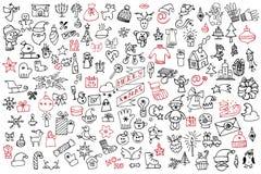 Christmas,new year icons big set.Doodle sketchy Stock Image