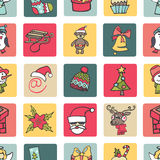 Christmas,new year icons button seamless pattern. Royalty Free Stock Images