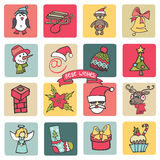Christmas,new year icons button set. Colored Royalty Free Stock Photo