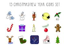 Christmas and New Year icons. Set 15. Flat design, colorful, cartoon Royalty Free Stock Photography
