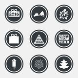 Christmas, new year icons. Gift box, fireworks. Christmas, new year icons. Gift box, fireworks signs. Santa bag, salut and rocket symbols. Circle flat buttons Royalty Free Stock Photography