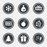 Christmas, new year icons. Gift box, fireworks. Christmas, new year icons. Gift box, fireworks and snowflake signs. Santa bag, salut and decoration ball symbols Royalty Free Stock Images