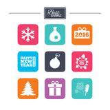 Christmas, new year icons. Gift box, fireworks. Christmas, new year icons. Gift box, fireworks and snowflake signs. Santa bag, salut and decoration ball symbols Royalty Free Stock Photography