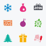 Christmas, new year icons. Gift box, fireworks. Christmas, new year icons. Gift box, fireworks and snowflake signs. Santa bag, salut and decoration ball symbols Royalty Free Stock Photos