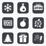 Christmas, new year icons. Gift box, fireworks. Christmas, new year icons. Gift box, fireworks and snowflake signs. Santa bag, salut and decoration ball symbols Stock Photo