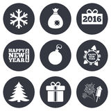 Christmas, new year icons. Gift box, fireworks. And snowflake signs. Santa bag, salut and decoration ball symbols. Gray flat circle buttons. Vector Royalty Free Stock Photos