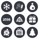 Christmas, new year icons. Gift box, fireworks. And snowflake signs. Santa bag, salut and rocket symbols. Gray flat circle buttons. Vector Royalty Free Stock Images