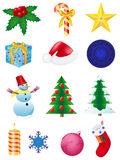 Christmas and new year icons  illustration Royalty Free Stock Photo