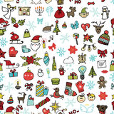 Christmas,new year icons seamless pattern. Colored Stock Photo