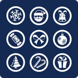 Christmas and New Year icons (set 1, part 1). Christmas and New Year 9 icons (set 1, part 1 Royalty Free Stock Photography