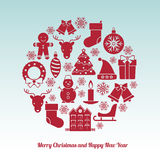Christmas and New Year icons set Royalty Free Stock Photography