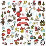 Christmas,new year icons set. Colored Doodle Stock Photo