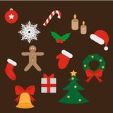 Christmas and New Year icons set. Gift, holly, jingle bells, cookie, Xmas tree ball, mittens, fir tree and candycane. Design eleme. Nts Royalty Free Stock Photography