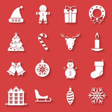 Christmas and New Year icons set with traditional holiday symbols Royalty Free Stock Photo